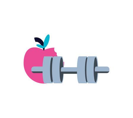 dumbbell sport with apple fruit vector illustration design
