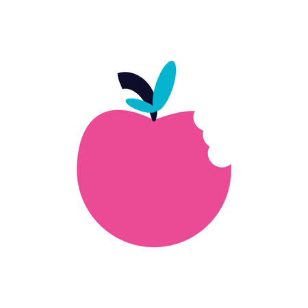 fresh apple fruit with nibble vector illustration design