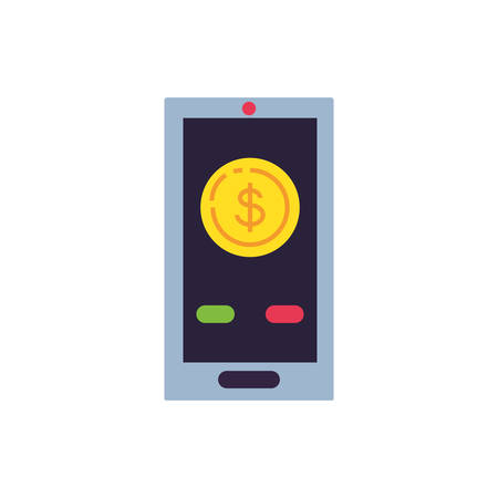 smartphone device with coin dollar vector illustration design