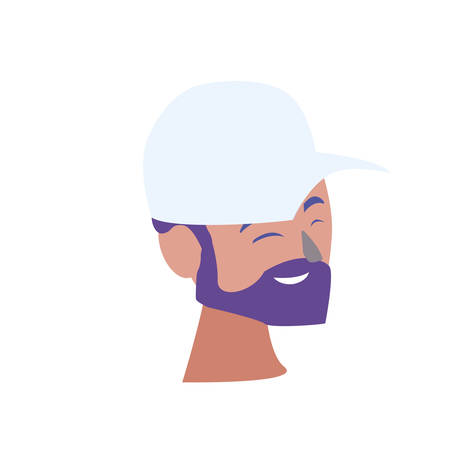 young man head with cap and beard vector illustration design