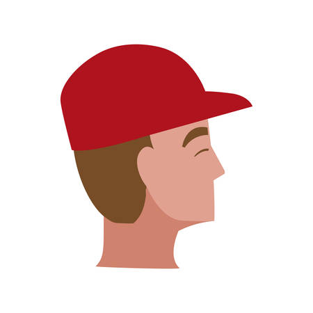 young man head with cap character vector illustration design Çizim