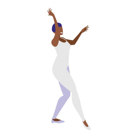 young black woman dancing character vector illustration design