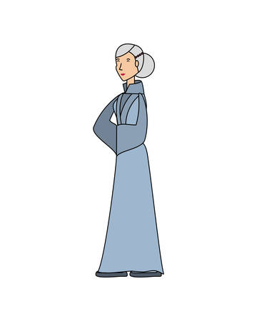 chinese old woman avatar character vector illustration design Ilustrace