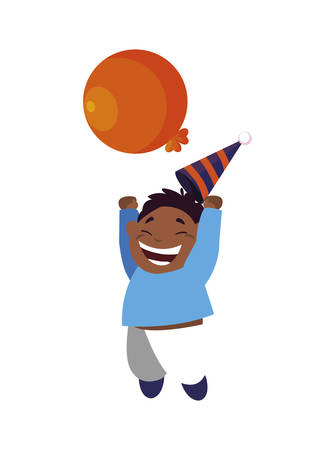 cute happy black boy with birthday balloons helium vector illustration design