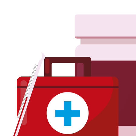 medical kit with medicine icons vector illustration design Ilustração