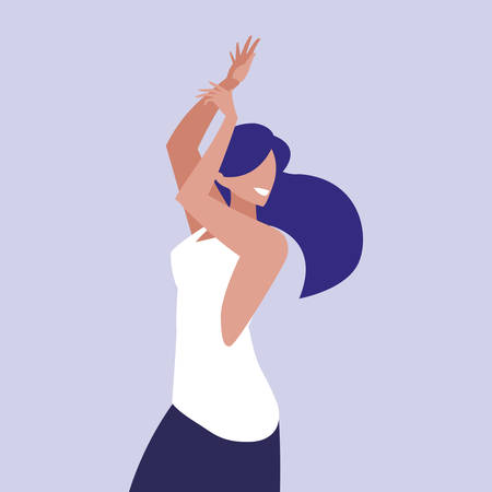 young woman dancing character vector illustration design