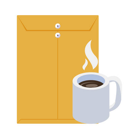 coffee cup with manila envelope vector illustration design Ilustrace