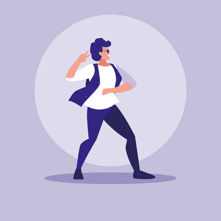 man dancing avatar character vector illustration design