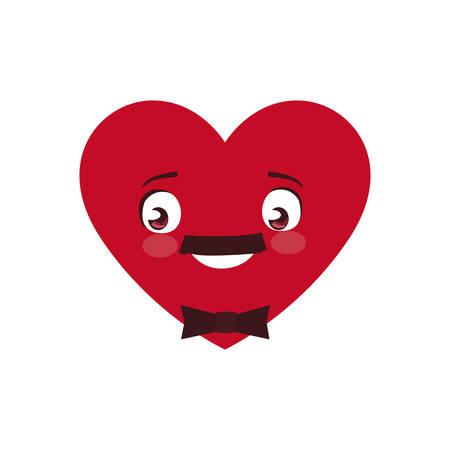 heart male kawaii character vector illustration design Çizim