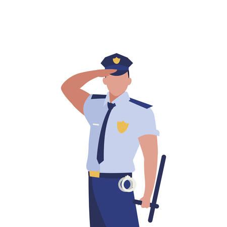 disegno dell'illustrazione di vettore del carattere di legge dell'ufficiale di polizia