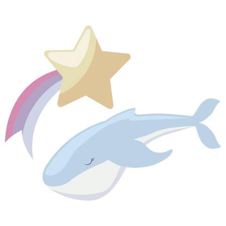 cute whale with star vector illustration design Ilustração