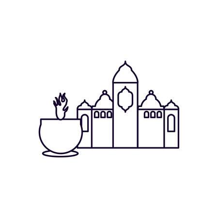 mosque castle with candle ramadan kareem vector illustration design Иллюстрация