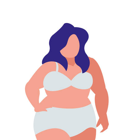 Robust woman in underwear character vector illustration design