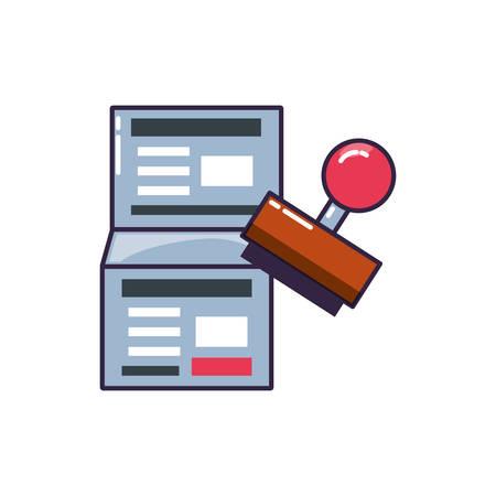 Mango de sello de caucho con diseño de ilustración de vector de documento