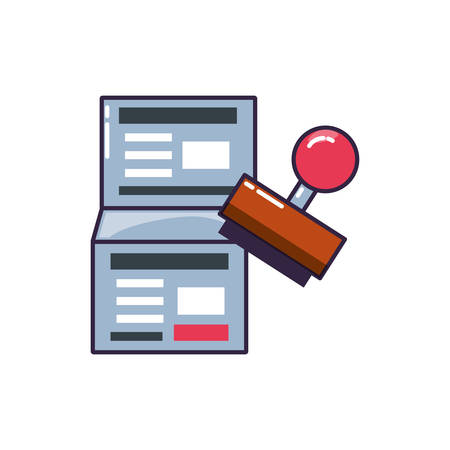 rubber stamp handle with document vector illustration design