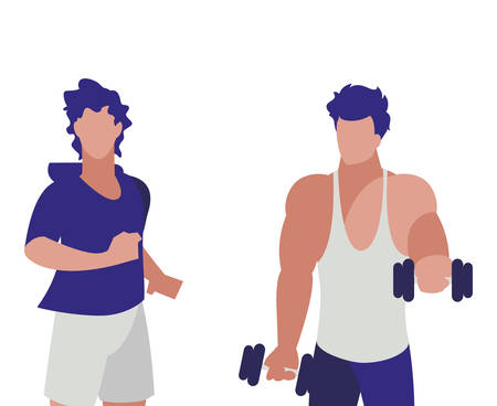 athletic men weight lifting and running vector illustration design