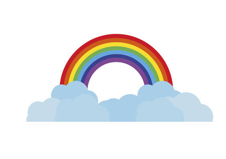 rainbow and clouds icons vector illustration design