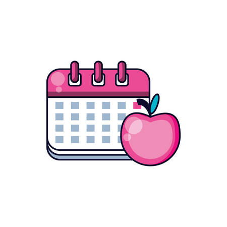 calendar reminder with apple fruit vector illustration design Ilustrace