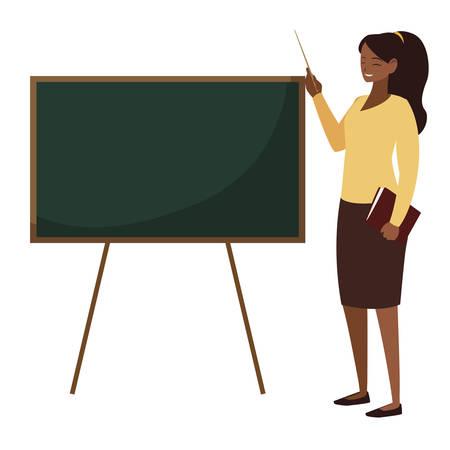 black female teacher with textbook and chalkboard vector illustration design Illustration