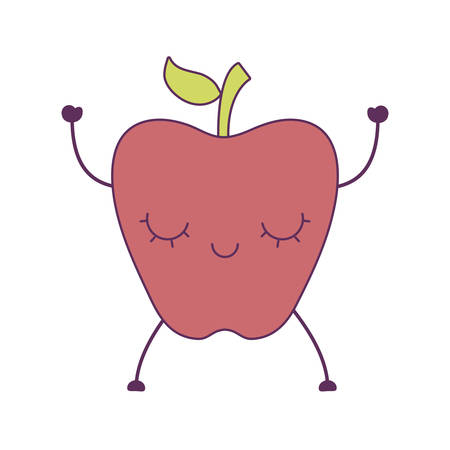 apple fruit kawaii character vector illustration design