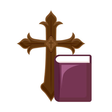 cross catholic with bible vector illustration design