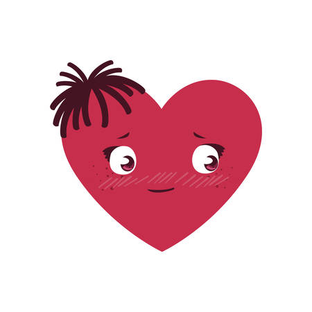 female heart kawaii character vector illustration design