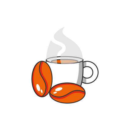 cup coffee with grains vector illustration design Ilustrace