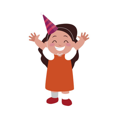 cute happy girl with birthday hat vector illustration design Illustration