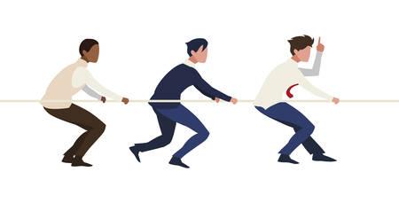 businessmen teamwork pulling rope vector illustration design