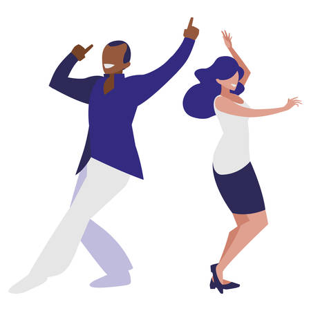 young interracial couple dancing characters vector illustration design Çizim