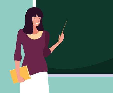 teacher female with chalkboard and book vector illustration design Stock Illustratie