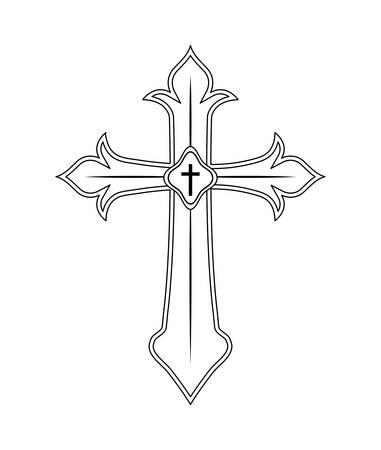 wooden catholic cross isolated icon vector illustration design Ilustração Vetorial
