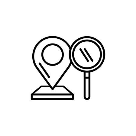 lokalizacja wskaźnika pin z projektem ilustracji wektorowych szkła powiększającego