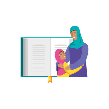 islamic mother with daughter with sacred book vector illustration design