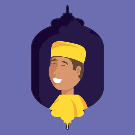 islamic little boy character vector illustration design 向量圖像