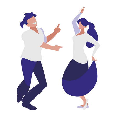 young couple dancing characters vector illustration design Vectores