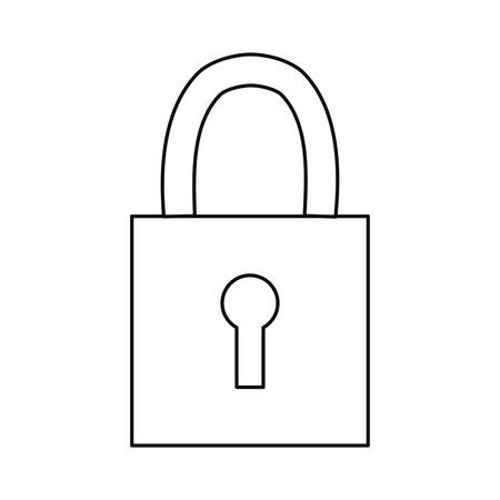 padlock secuirty protection icon on white background vector illustration outline