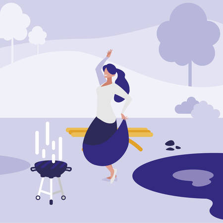 young woman dancing in the park character vector illustration design 일러스트