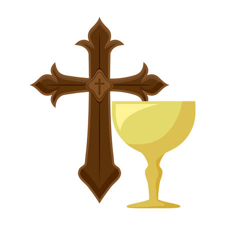 cross catholic with chalice sacred vector illustration design
