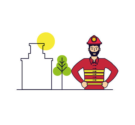 firefighter professional with cityscape vector illustration design 일러스트
