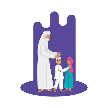 old islamic man with little kids vector illustration design