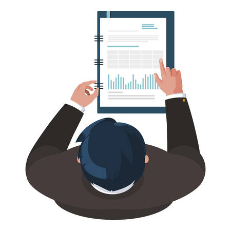 businessman working with office notepad vector illustration design