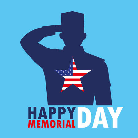 happy memorial day card with silhouette of military and star vector illustration design