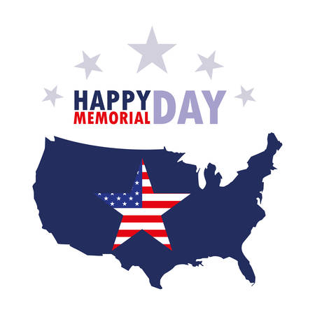 happy memorial day card with flag and map usa vector illustration design Stock Illustratie