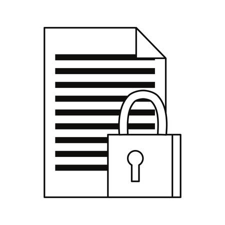 document padlock cybersecurity data protection vector illustration outline