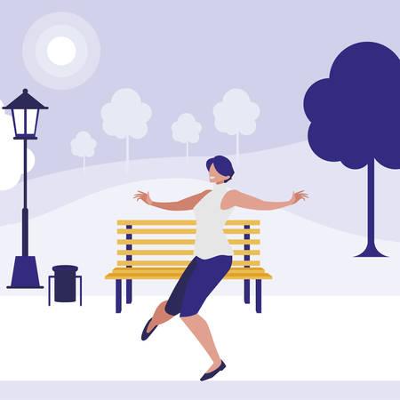 young woman dancing in the park character vector illustration design Ilustração