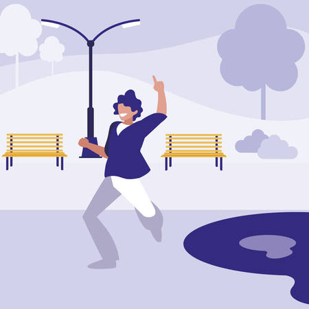 young dancer disco style in the park vector illustration design 矢量图像