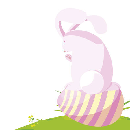 cute rabbit easter with egg painted in the camp vector illustration design Ilustracja