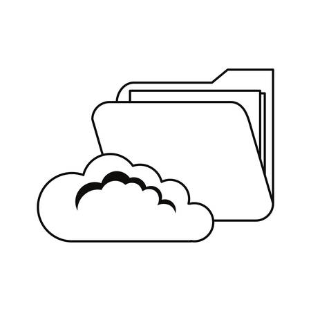 cloud computing folder file cybersecurity data protection vector illustration outline