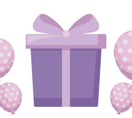 gift box present with balloons helium vector illustration design 向量圖像